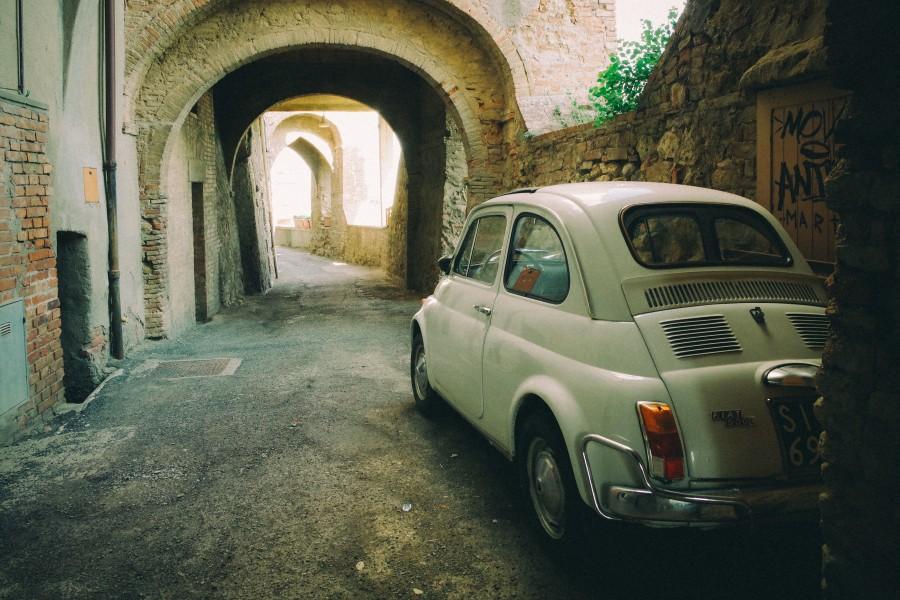 Fiat, 500, coche, vintage, Italia, calle, camino, oldschool, auto, vintage, nadie, europa,