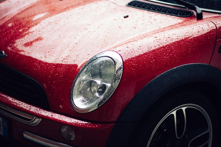 mini cooper, auto, rojo, lluvia, mojado, coche, carro, transporte,