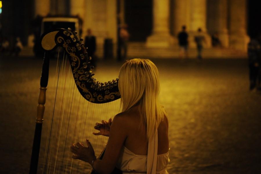 mujer, musica, arpa, tocar, tocando, sonido, instrumento, arpista,