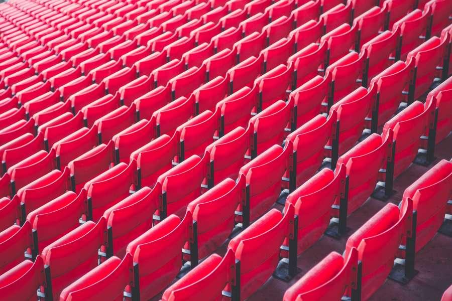 asiento, rojo, asientos, gradas, estadio, vacio, nadie, fondo, concepto, multitud,