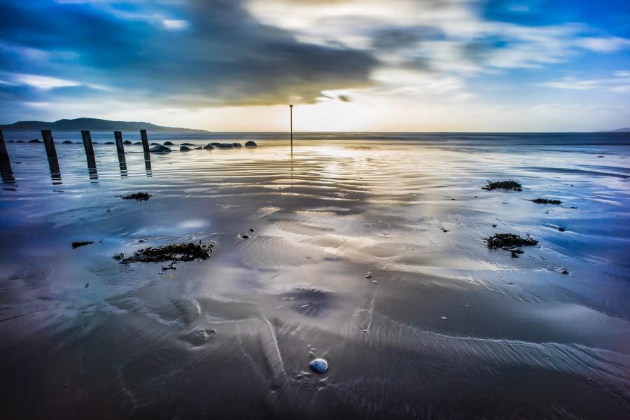 beach, blue, bull, by the sea, clontarf, clouds, dawn, dublin, ireland, island, landscape, long exposure, orange, rocks, sand, sea, sky, sunrise, weather, wideangle, yellow, europe,