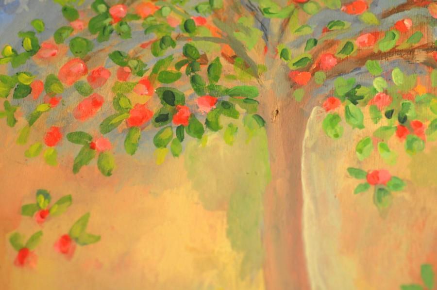 pintura, oleo, arbol, naturaleza, textura, color, colores, primavera, cuadro, pintado,
