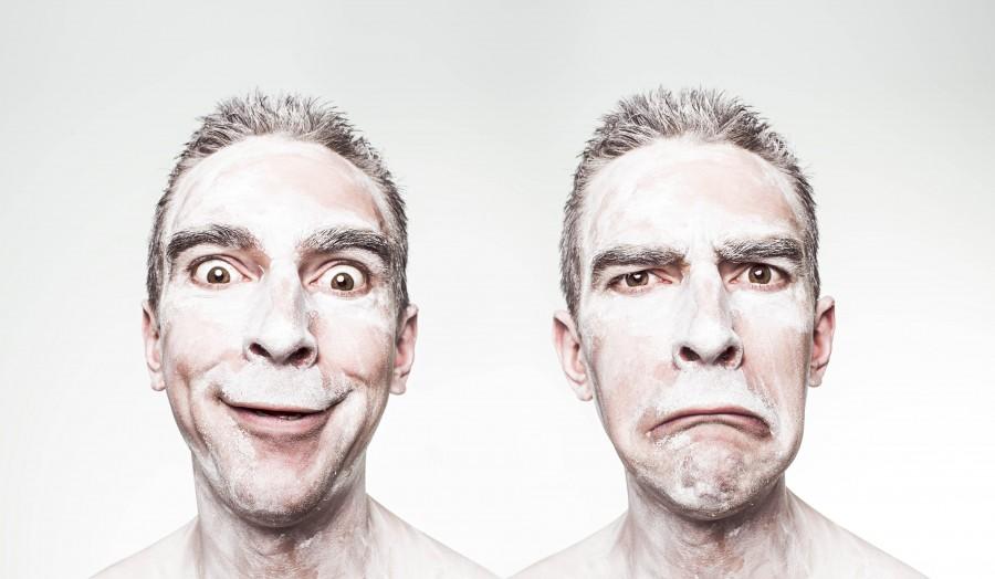 concepto, tristeza, alegria, dual, dualidad, bipolar, hombre, rostro, cara, teatro, drama, comedia,