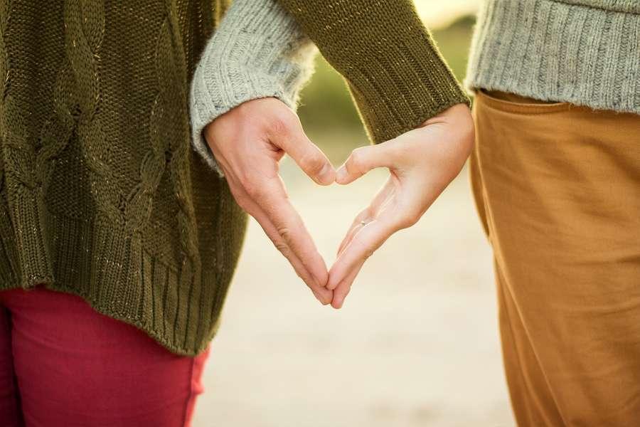 pareja, junto, gente, amor, corazon, forma, sentimiento, enamorado, concepto,