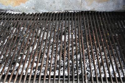 parrilla, carbon, asado, cocina, brasas, pared, va