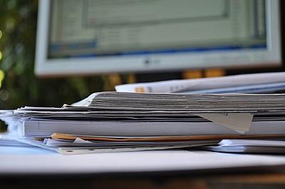 papeleo, oficina, interior, escritorio, trabajo, c