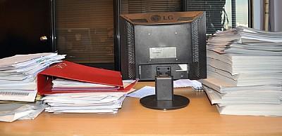 ventana, papeleo, oficina, interior, escritorio, t