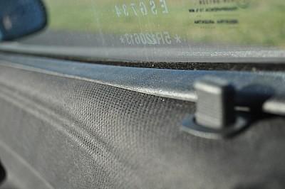 seguridad, panel, negro, vehiculo, vidrio, letras,