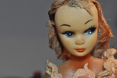 cabeza, muñeca, objeto, adorno, vestida, sombra, i