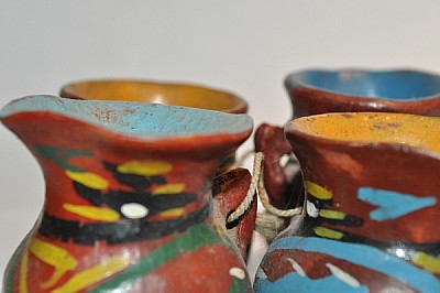 vasijas, barro, artesanal, adorno, diseño, pequeño